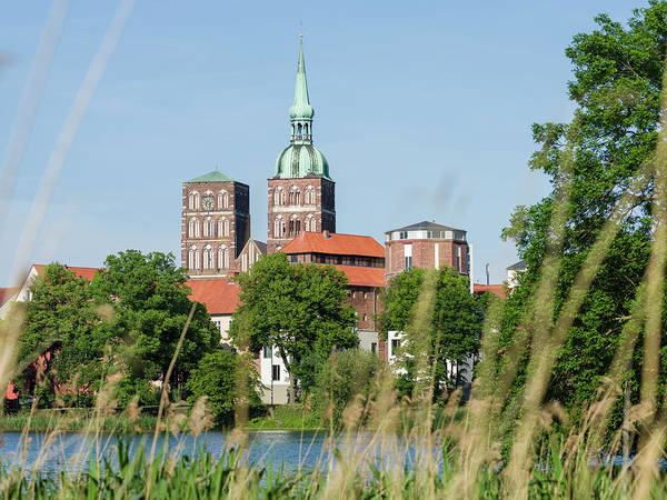 Brick Gothic Photograph - Cityscape Of Stralsund With The Pond by Martin Zwick