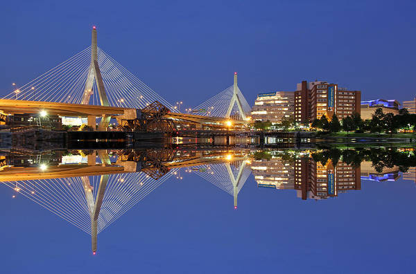 Photograph - Cityscape Reflection Of The Boston Zakim Bridge by Juergen Roth