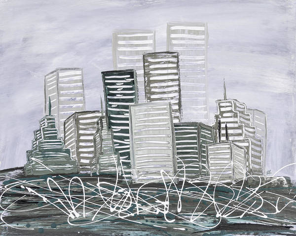 Dark Olive Green Wall Art - Painting - Cityscape Sage by Melissa Smith