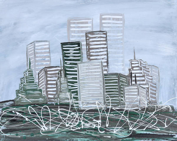 Dark Olive Green Wall Art - Painting - Cityscape Teal by Melissa Smith