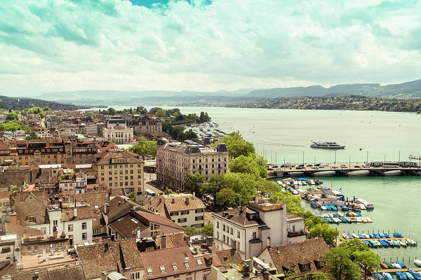 Zuerich Wall Art - Photograph - Cityscape With Buildings, River by Tamboly Photodesign