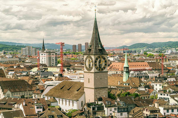 Zuerich Wall Art - Photograph - Cityscape With Clocktower, Zurich by Tamboly Photodesign