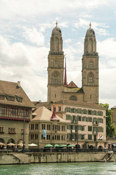 Zuerich Wall Art - Photograph - Cityscape With Grossmunster Church by Tamboly Photodesign