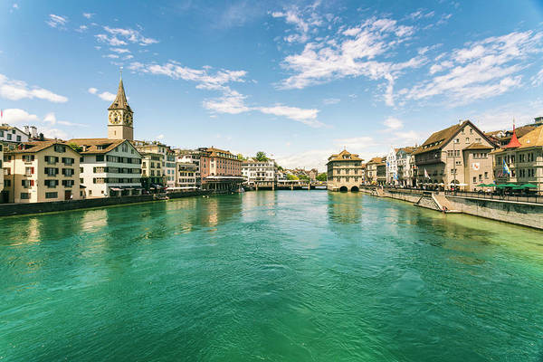 Zuerich Wall Art - Photograph - Cityscape With Old Town And Limmat by Tamboly Photodesign