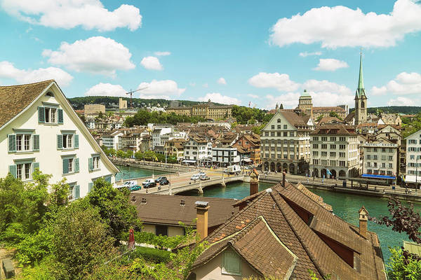 Zuerich Wall Art - Photograph - Cityscape With Traditional Buildings by Tamboly Photodesign