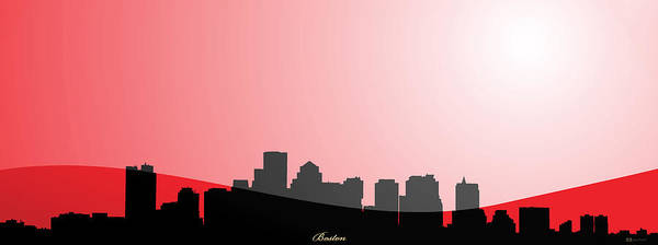Digital Art - Cityscapes - Boston Skyline In Black On Red by Serge Averbukh