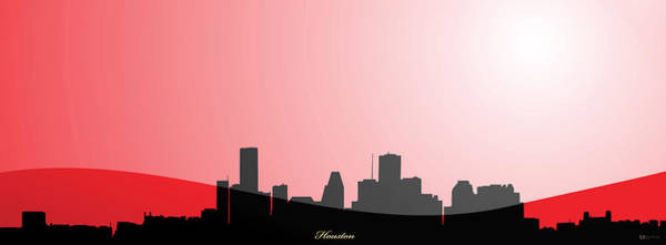 Digital Art - Cityscapes - Houston Skyline In Black On Red by Serge Averbukh