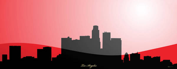 Digital Art - Cityscapes- Los Angeles Skyline In Black On Red by Serge Averbukh