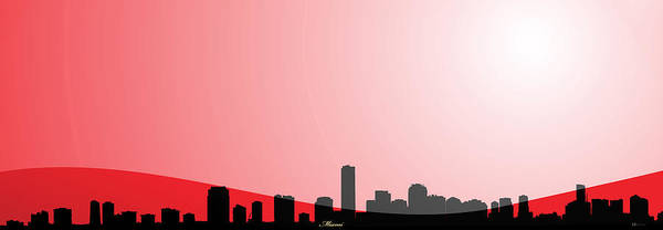 Digital Art - Cityscapes - Miami Skyline In Black On Red by Serge Averbukh