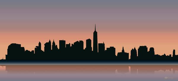 Digital Art - Cityscapes - New York Skyline - Sunset by Serge Averbukh