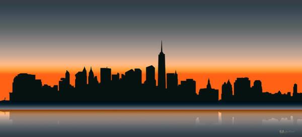 Digital Art - Cityscapes - New York Skyline - Twilight by Serge Averbukh