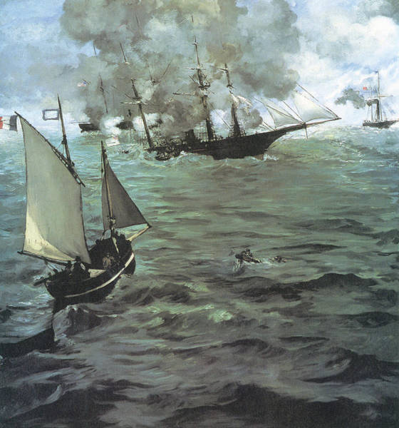 Uss Alabama Painting - Alabama Vs Kearsarge, 1864 by Edouard Manet