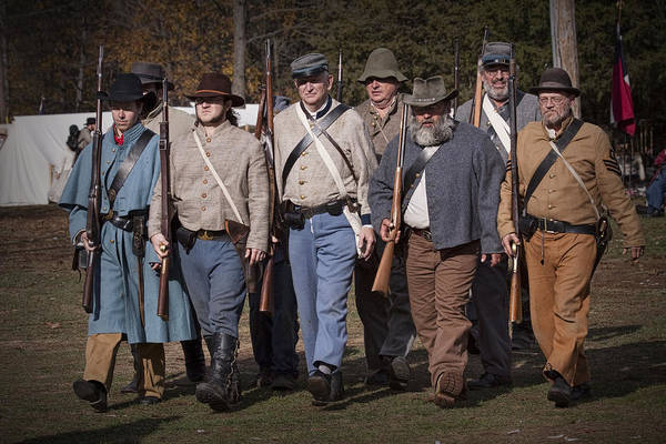 Photograph - Civil War Confederate Troop Reenactors Marching by Randall Nyhof
