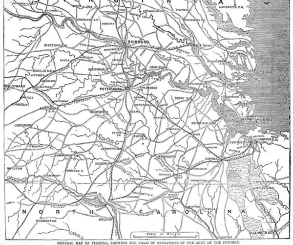 Road Map Photograph - Civil War Map: Virginia by Granger
