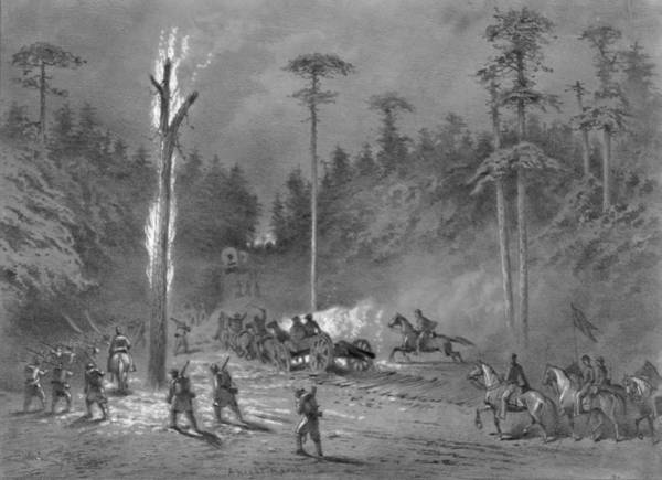 Wall Art - Drawing - Civil War Night March by Granger