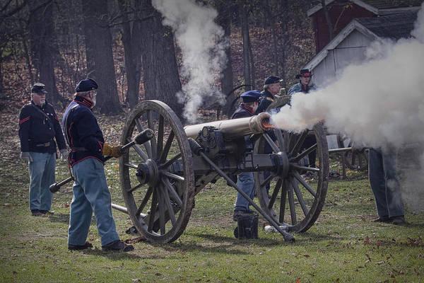 Photograph - Civil War Reenactors Firing A Cannon by Randall Nyhof