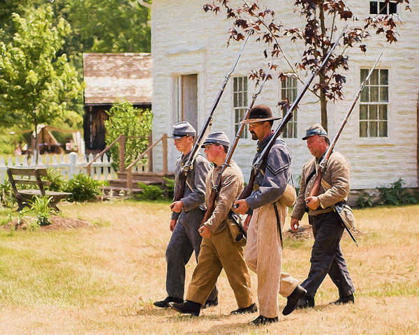 Photograph - Civil War Soldiers Marching  by Chris Bordeleau