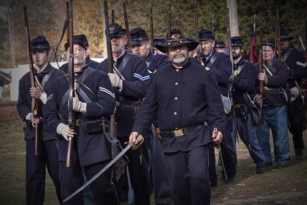 Photograph - Civil War Union Troop Reenactors Marching by Randall Nyhof