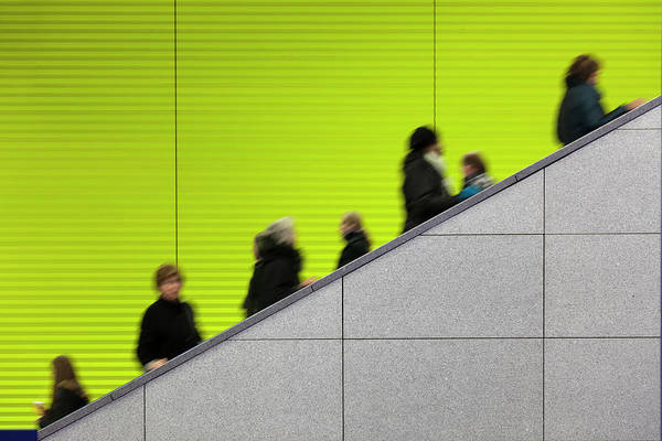 Photograph - Civilians Riding An Escalator With A by Sebastian-julian