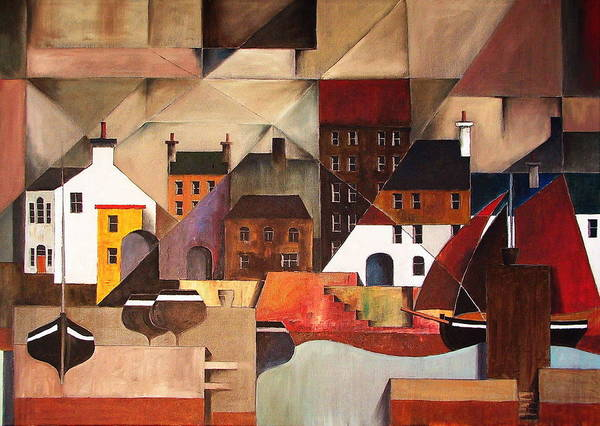 Painting - Cladagh Cubed Harbour Galway by Val Byrne