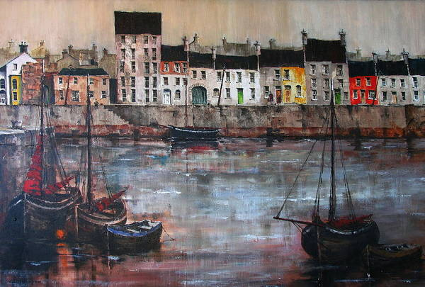 Cladagh Harbour In Galway Art Print