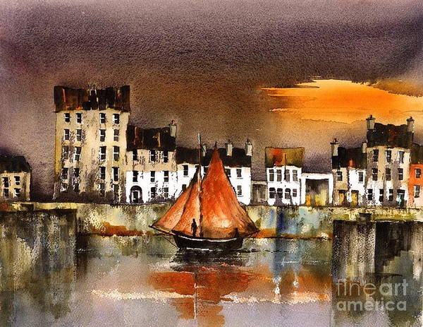 Painting - Cladagh Sunset  Galway by Val Byrne