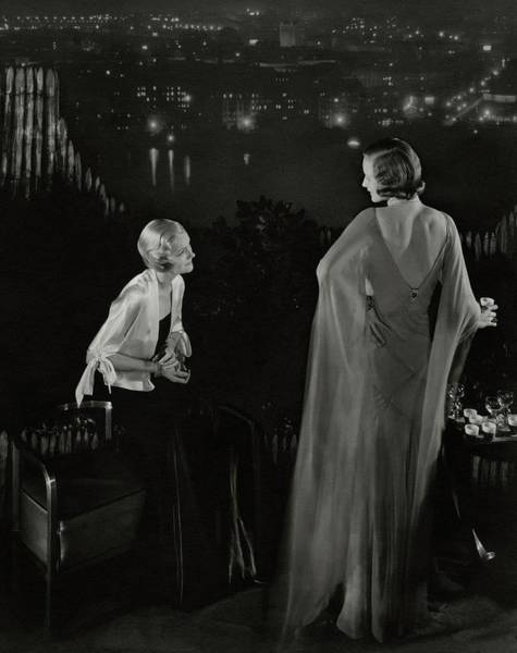 Urban Scene Photograph - Claire Coulter And Avis Newcomb Wearing Evening by Edward Steichen