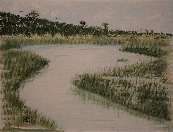 Jekyll Island Painting - Clam Creek by Spencer  Joyner