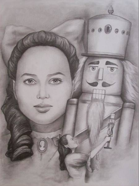 Amber Drawing - Clara And The Nutcracker by Amber Stanford
