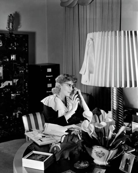 Telephone Receiver Photograph - Clare Boothe Luce At Her Desk by Horst P. Horst