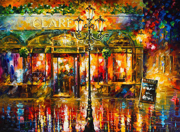 Magic Realism Painting - Clarens Misty Cafe by Leonid Afremov