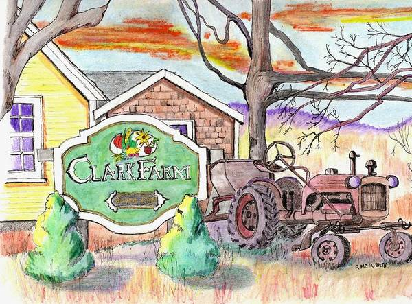 Old Tractor Drawing - Clark Farm Danvers by Paul Meinerth