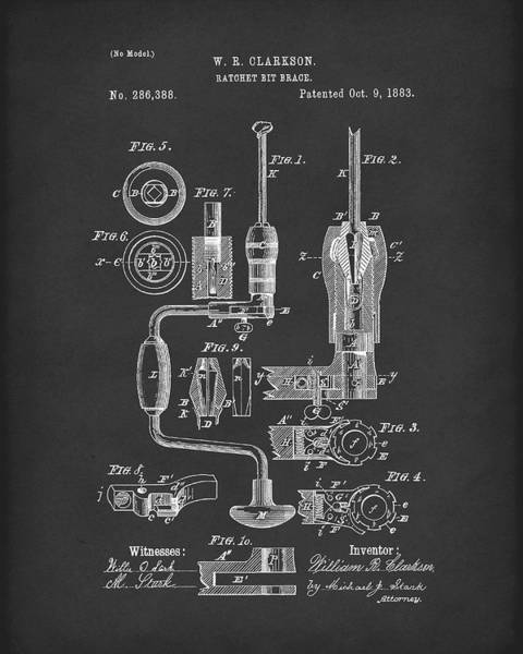 Drill Bits Wall Art - Drawing - Clarkson Bit Brace 1883 Patent Art Black by Prior Art Design
