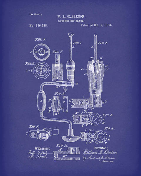 Drawing - Clarkson Bit Brace 1883 Patent Art Blue by Prior Art Design