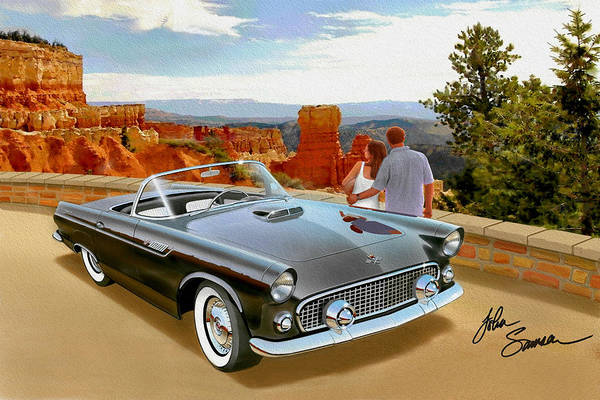 Wall Art - Painting - Classic 1955 Thunderbird At Bryce Canyon Black  by John Samsen