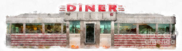 Photograph - Classic American Diner Watercolor by Edward Fielding