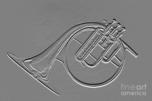 Photograph - Classic Antique French Horn Metal Print 3022.03 by M K Miller