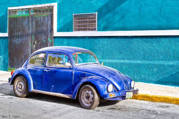 Photograph - Classic Blue Volkswagen On The Streets Of Mexico by Mark E Tisdale