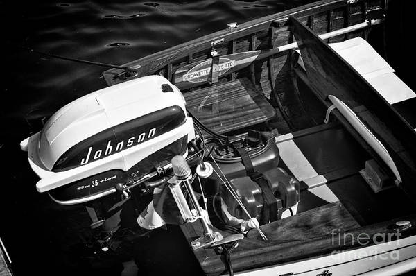 Photograph - Classic Boat In Black And White by Les Palenik