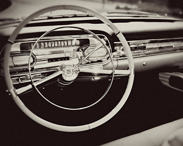 Lisa Russo Wall Art - Photograph - Classic Cadillac Steering Wheel And Dash Take The Wheel by Lisa Russo