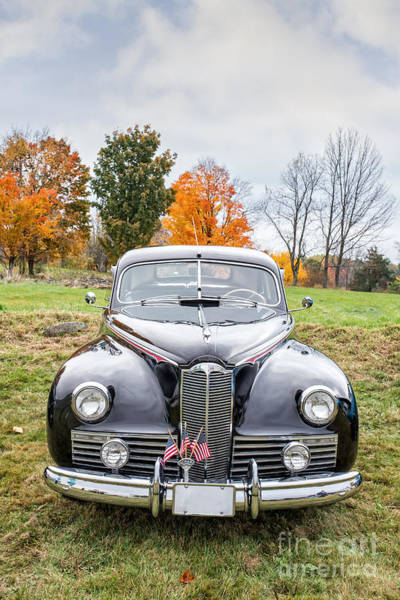 Photograph - Classic Car In Autumn Farm Field by Edward Fielding