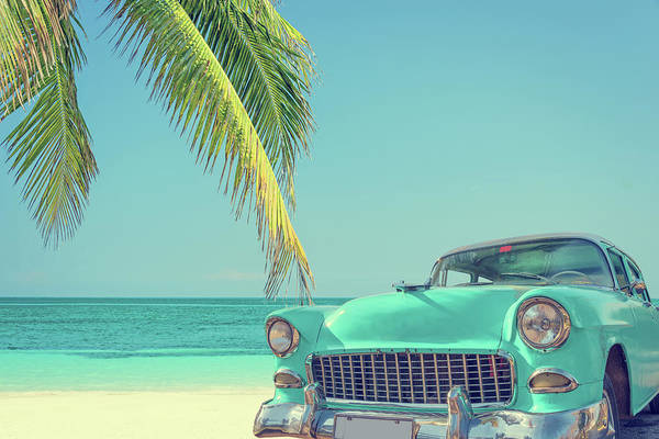 Horizontal Landscape Photograph - Classic Car On A Tropical Beach With by Delpixart