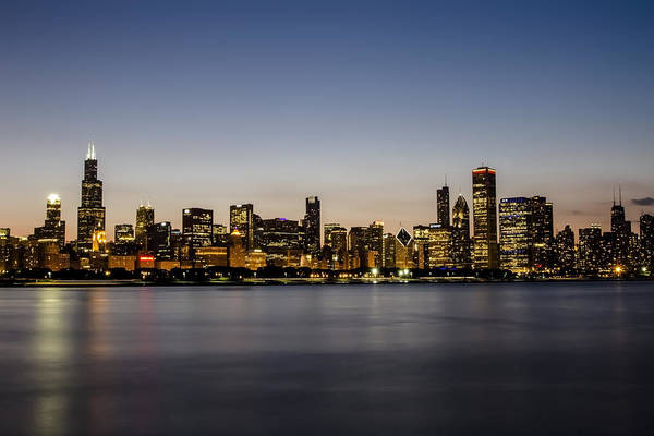Classic Chicago Skyline At Dusk Art Print