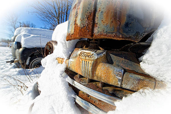 Wall Art - Photograph - Classic Ford Pickup Truck In The Snow by Edward Fielding