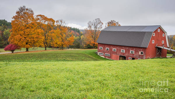 Photograph - Classic New England Fall Farm Scene by Edward Fielding