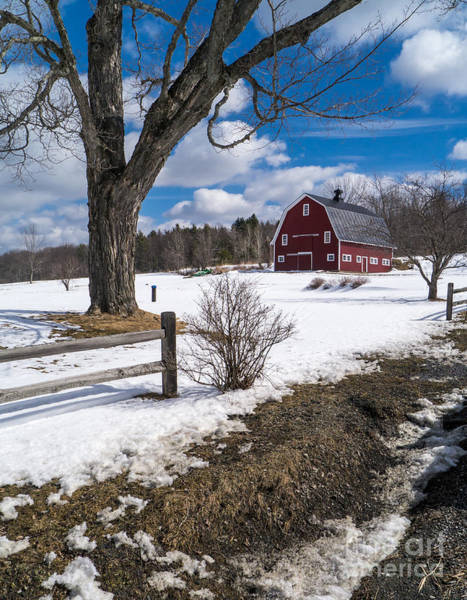 White Barn Photograph - Classic New England Farm Scene by Edward Fielding