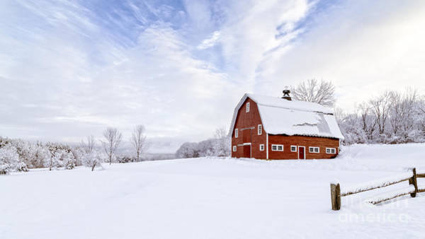 Barn Storm Wall Art - Photograph - Classic New England Red Barn In Winter by Edward Fielding