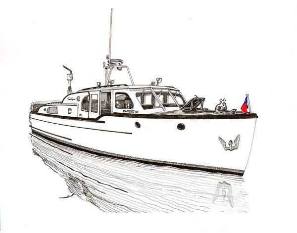 Beam Drawing - Classic Northwest Yacht by Jack Pumphrey