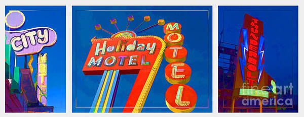 Vintage Neon Sign Photograph - Classic Old Neon Signs by Edward Fielding