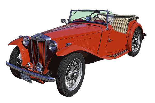 Tc Photograph - Classic Red Mg Tc Convertible British Sports Car by Keith Webber Jr
